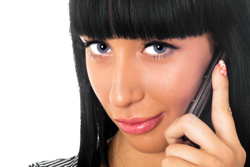 говорить телефона девушки стоковая фотография