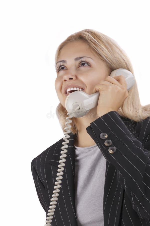 говорить телефона коммерсантки стоковые изображения rf