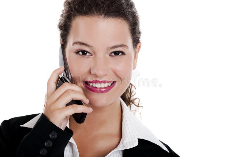 говорить телефона коммерсантки стоковое изображение