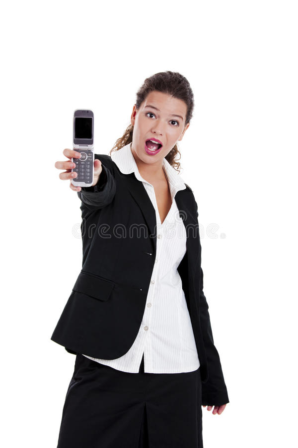 говорить телефона коммерсантки стоковые изображения