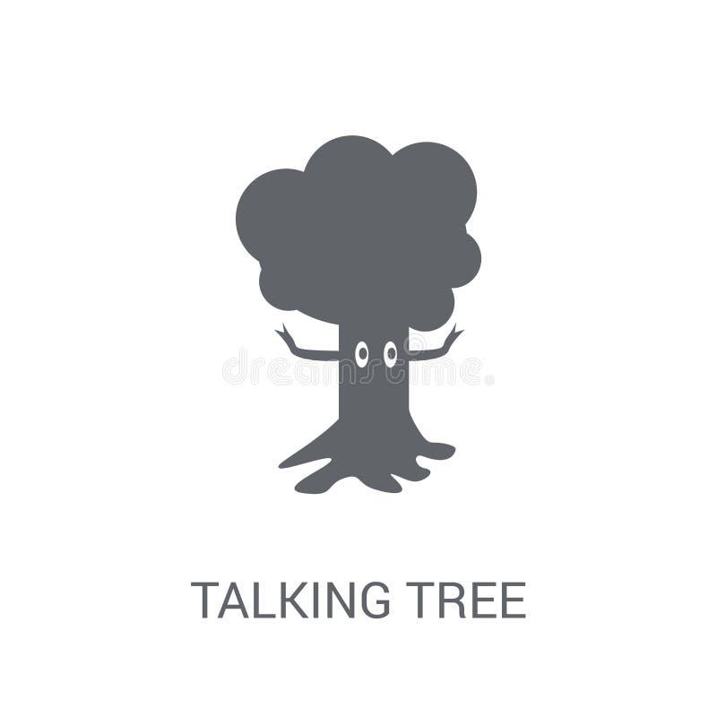 Говоря значок дерева Ультрамодная говоря концепция логотипа дерева на белом bac иллюстрация штока