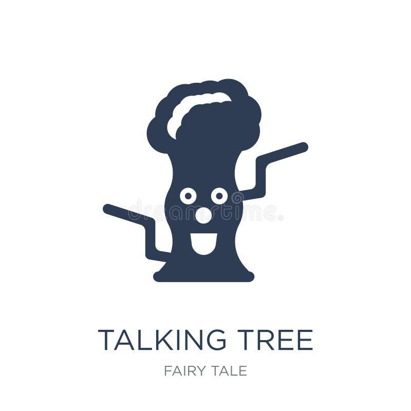 Говоря значок дерева Значок дерева ультрамодного плоского вектора говоря на белизне бесплатная иллюстрация