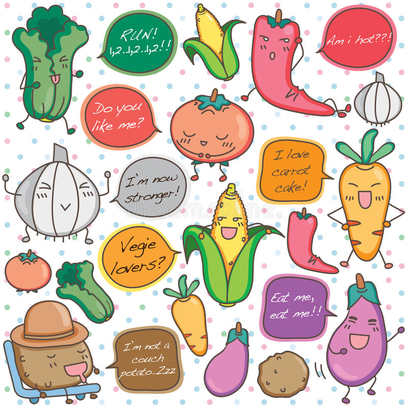 Говоря искусство зажима овощей иллюстрация вектора