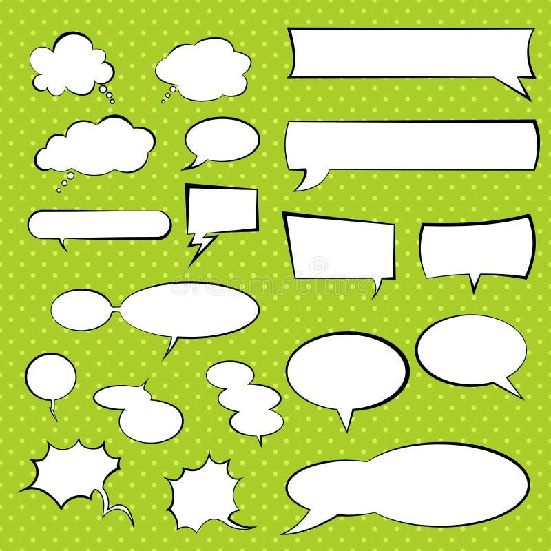 Говоря и думая пузыри вектора установленные, шуточный воздушный шар речи иллюстрация вектора