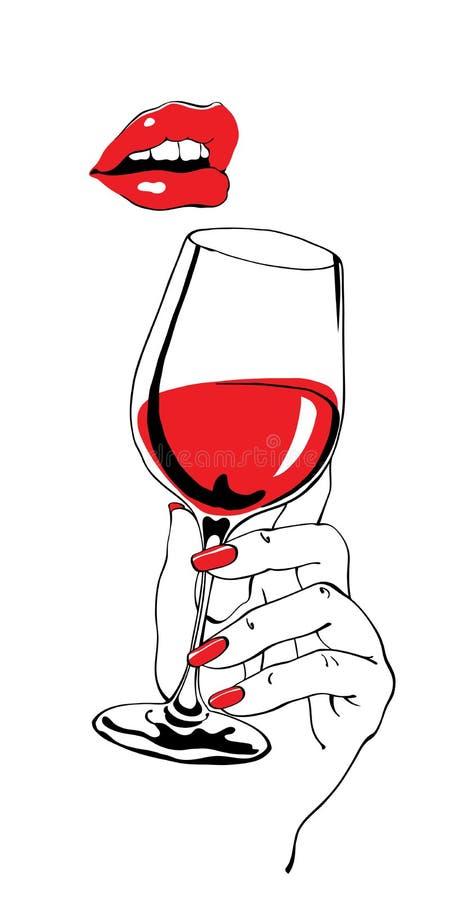 Говоря красные губы и бокал вина держа руку бесплатная иллюстрация