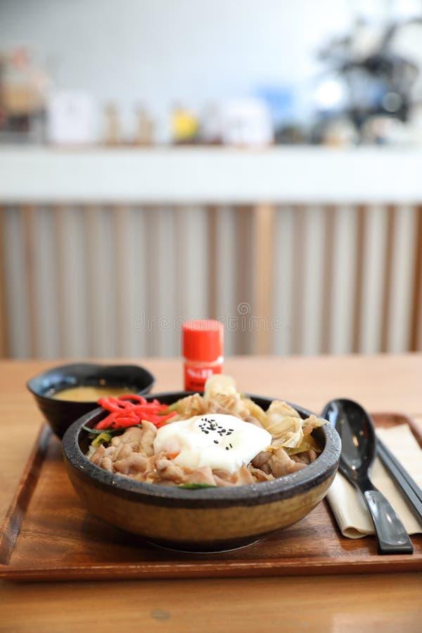 Говядина Gyudon японской кухни японская на шаре риса покрыла с яйцом на деревянном столе стоковые изображения