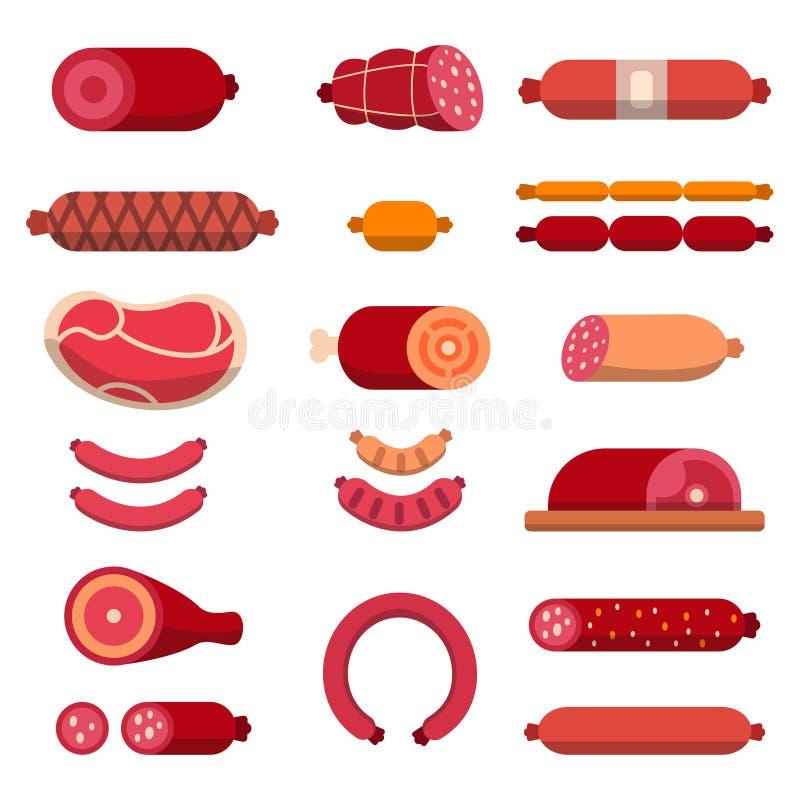 Говядина, mariscos, мраморизовала мясо и другие различные иллюстрации для мясной лавки Изолят изображений вектора иллюстрация штока