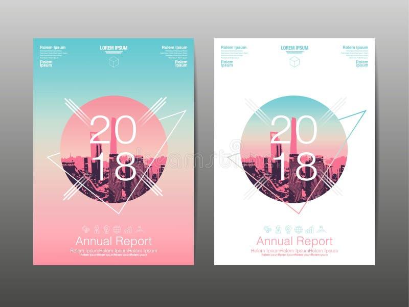 Годовой отчет 2018, будущее, дело, дизайн плана шаблона, co бесплатная иллюстрация