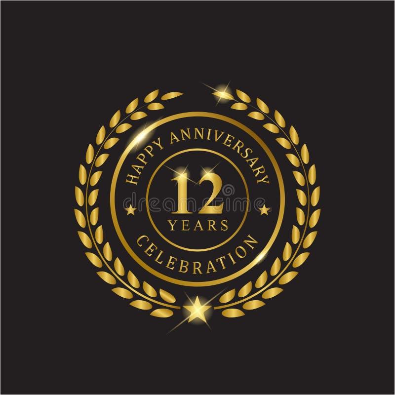 Годовщина венка золота 12 лет торжества иллюстрация штока