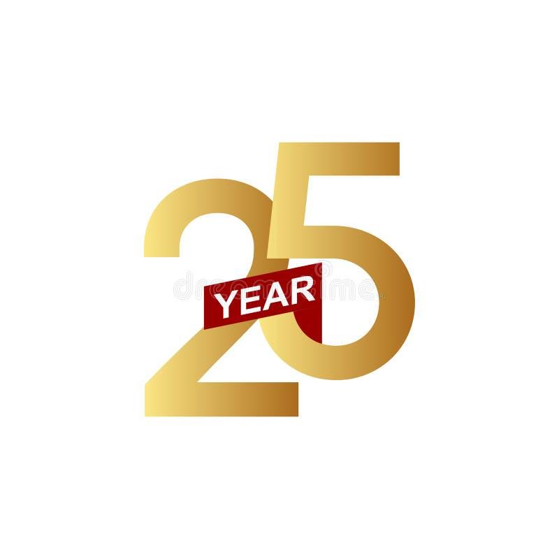25 годовщины вектора шаблона лет иллюстрации дизайна иллюстрация вектора