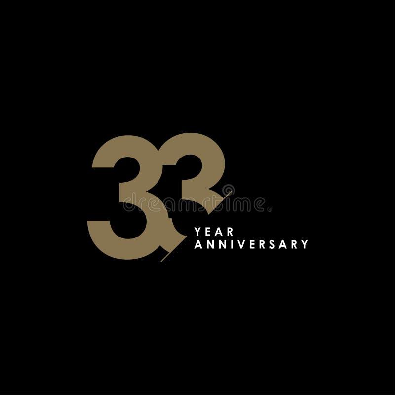33 годовщины вектора шаблона лет иллюстрации дизайна иллюстрация вектора