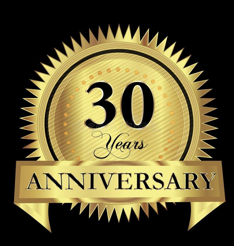 30 годовщины золота уплотнения логотипа лет дизайна вектора иллюстрация вектора
