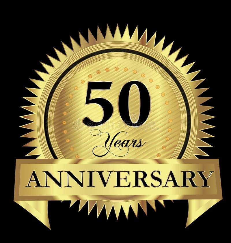 50 годовщины золота уплотнения логотипа лет дизайна вектора иллюстрация вектора