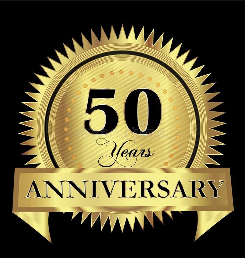 50 годовщины золота уплотнения логотипа лет дизайна вектора иллюстрация штока