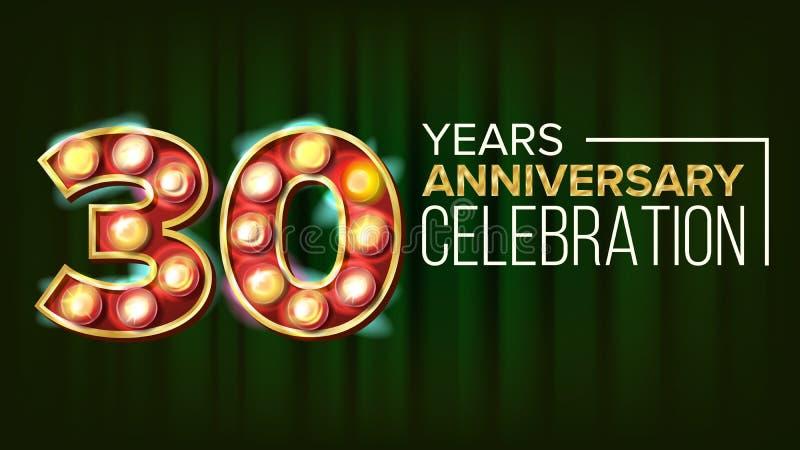30 годовщины лет вектора знамени 30, тридцатое торжество накаляя числа элемента 3D Для карточки приглашения иллюстрация вектора