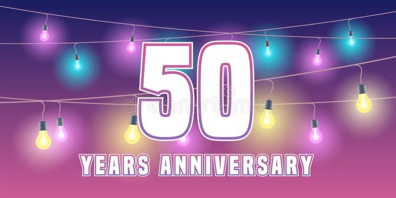 50 годовщины лет значка вектора, знамени бесплатная иллюстрация