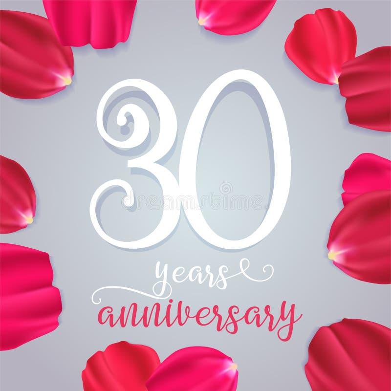 30 годовщины лет значка вектора, логотипа бесплатная иллюстрация