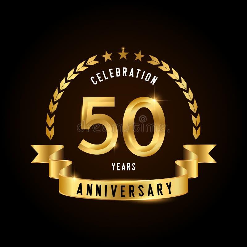 50 годовщины лет логотипа торжества Золотая эмблема годовщины с лентой Дизайн для буклета, листовки, журнала, брошюры иллюстрация штока