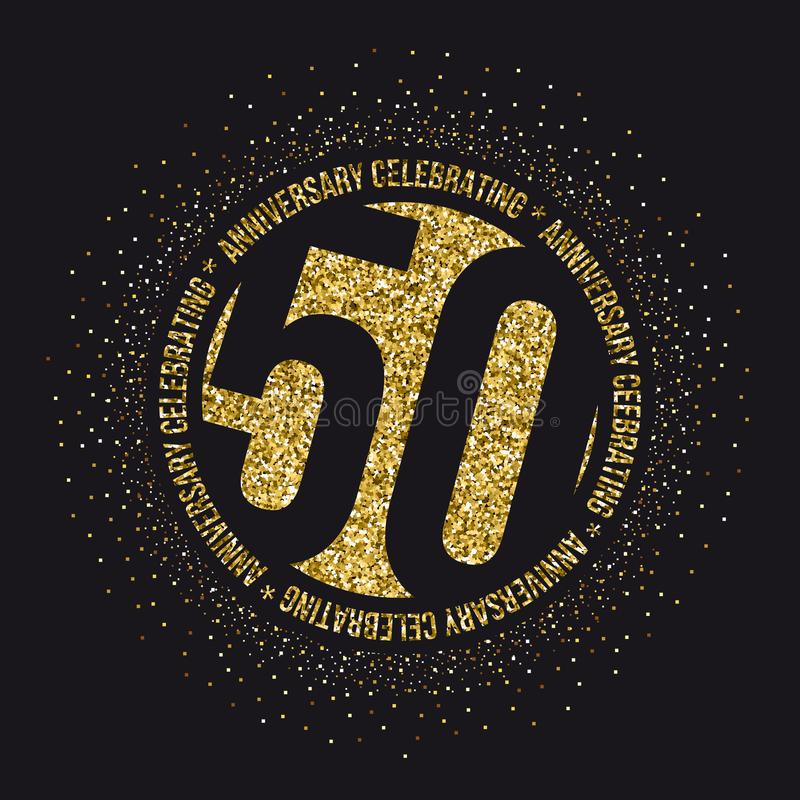 50 годовщины лет логотипа торжества золотого пятидесятый логотип золота годовщины иллюстрация вектора