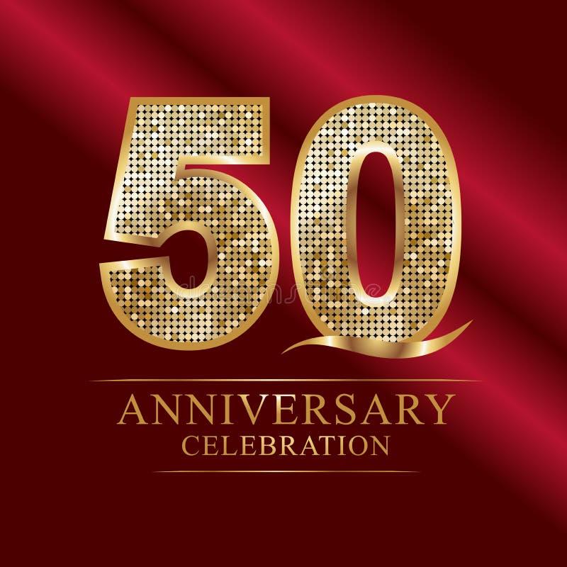 50 годовщины лет логотипа торжества лента и золото пятидесятой годовщины лет красная раздувают на серой предпосылке иллюстрация вектора