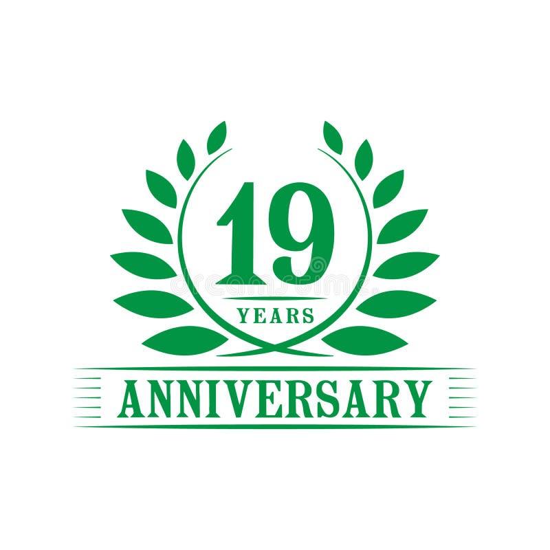 19 годовщины лет логотипа торжества шаблон дизайна девятнадцатой годовщины роскошный r бесплатная иллюстрация