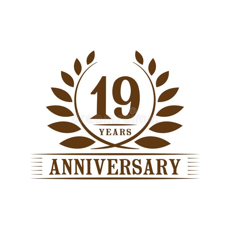 19 годовщины лет логотипа торжества шаблон дизайна девятнадцатой годовщины роскошный r иллюстрация вектора