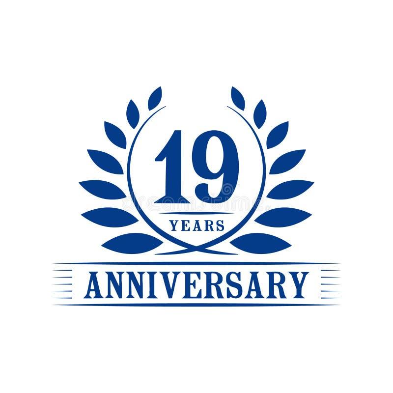 19 годовщины лет логотипа торжества шаблон дизайна девятнадцатой годовщины роскошный r иллюстрация штока