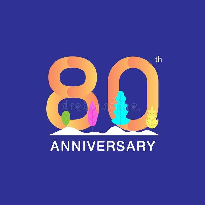 80 годовщины лет логотипа торжества Multicolor номер с современными лист и предпосылкой снега Дизайн для буклета, листовки, иллюстрация штока