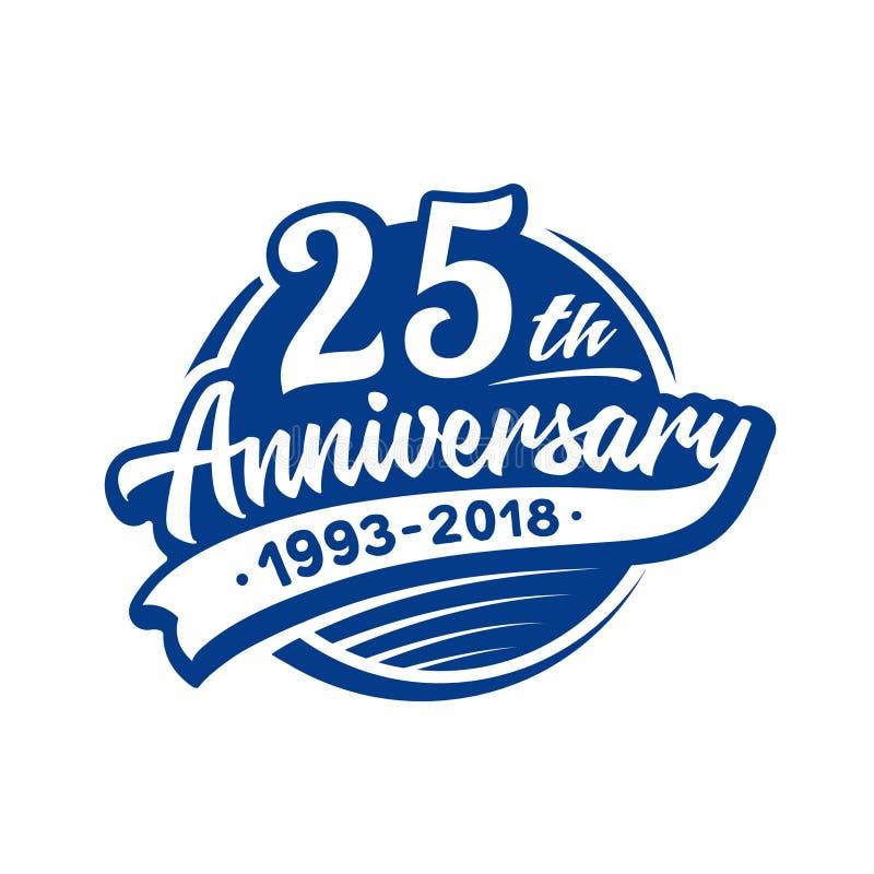 25 годовщины лет шаблона дизайна Вектор и иллюстрация 25th логотип иллюстрация вектора