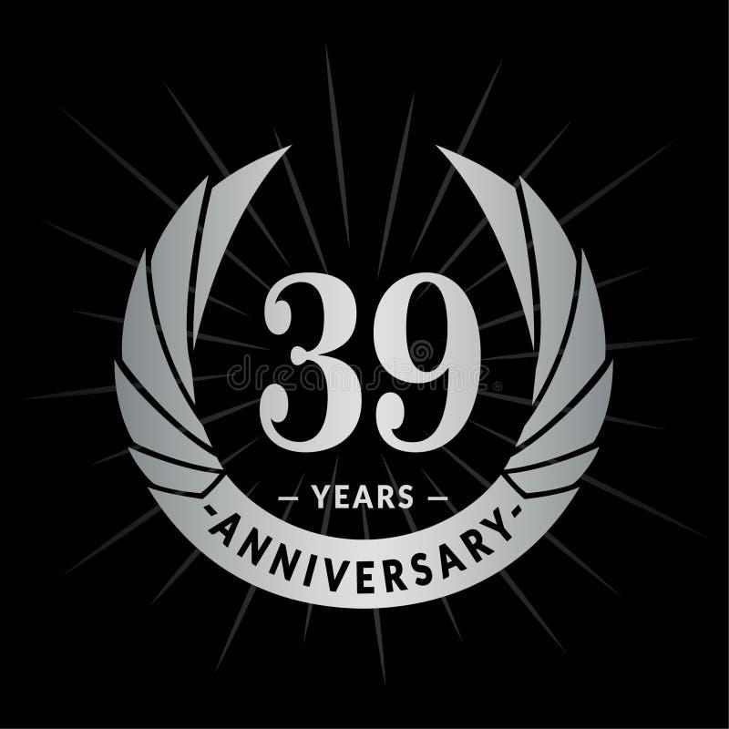 39 годовщины лет шаблона дизайна Элегантный дизайн логотипа годовщины Тридцать девять лет логотипа иллюстрация вектора