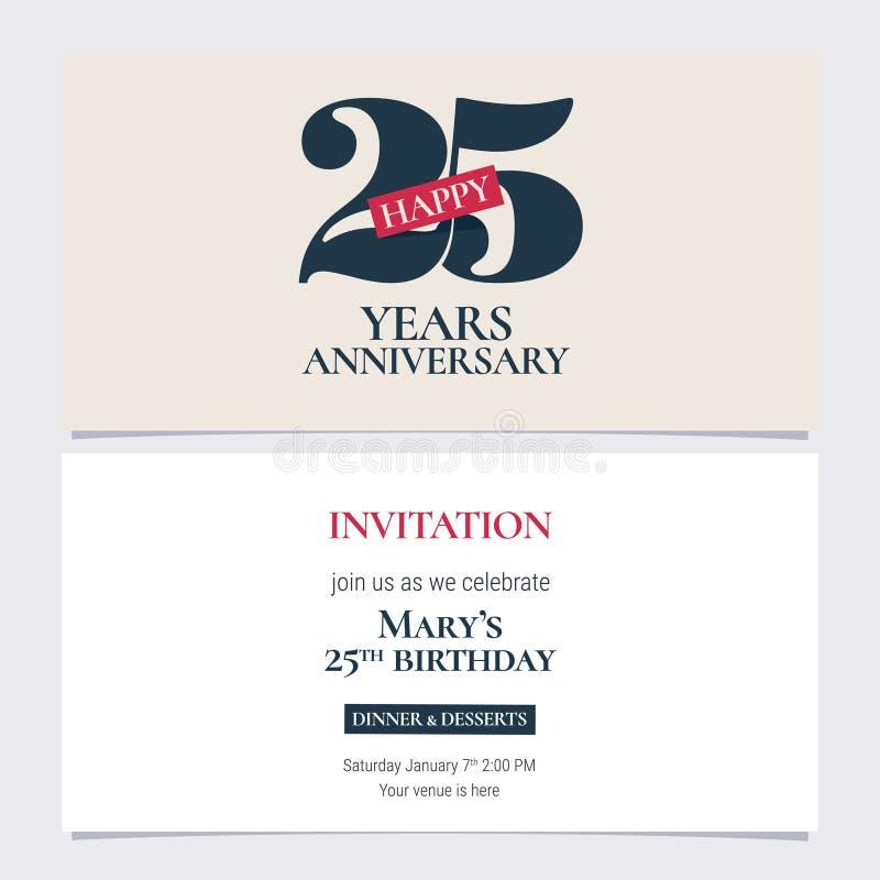 25 годовщины приглашения лет иллюстрации вектора Шаблон графического дизайна иллюстрация штока