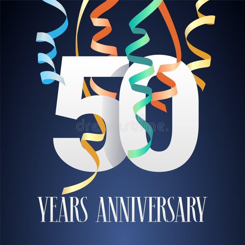 50 годовщины торжества лет значка вектора, логотипа иллюстрация вектора