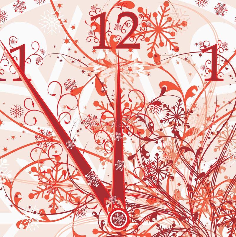 год вектора часов флористический новый s предпосылки иллюстрация штока