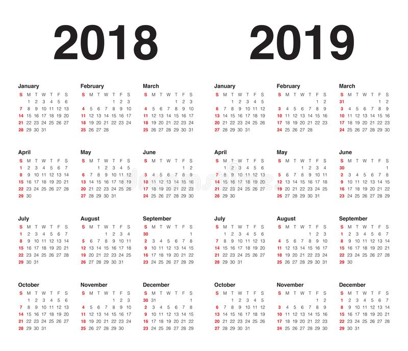 Год 2018 вектор 2019 календарей иллюстрация вектора