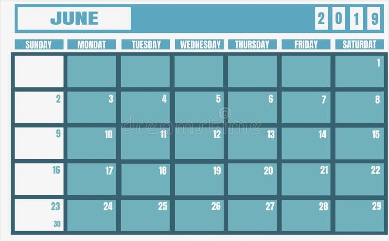 Год 2019 -го в июне календаря, и плановик для планируя задач и тонкий иллюстрация штока