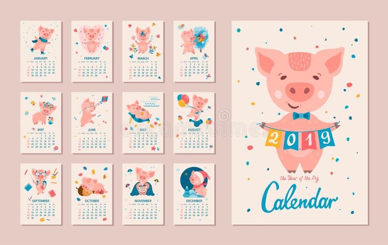 2019 год календаря СВИНЬИ иллюстрация штока