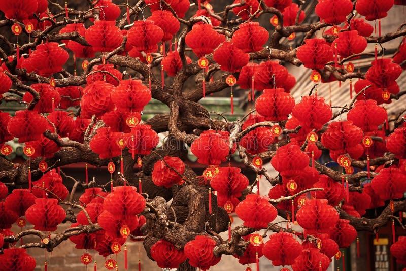 год китайских фонариков Пекин удачливейший лунный новый красный стоковое изображение rf
