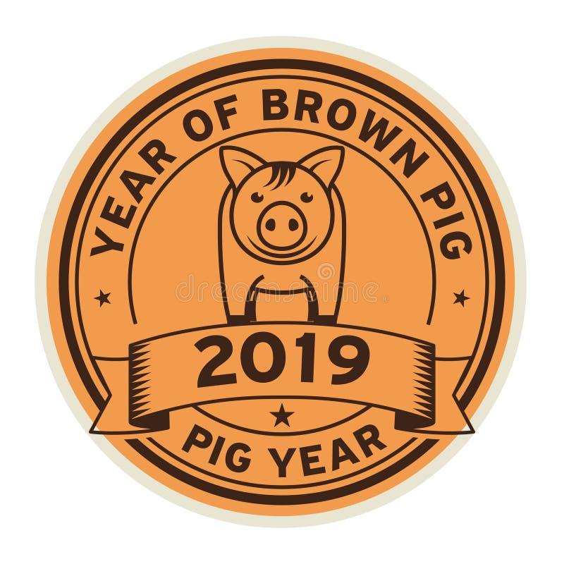 Год коричневой свиньи иллюстрация штока