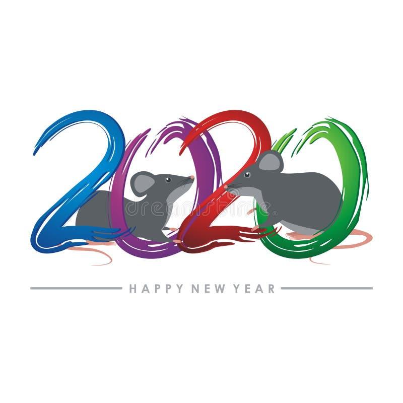Год крысы, китайский дизайн вектора Нового Года иллюстрация штока