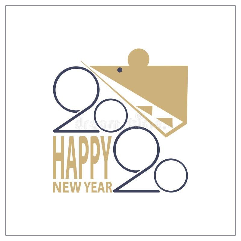 Год надписи Нового Года 2020 стилизованный крысы на белой предпосылке стоковое изображение rf