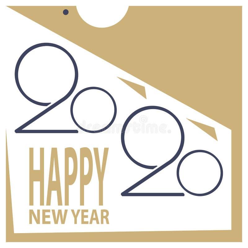Год надписи Нового Года 2020 стилизованный крысы на белой предпосылке стоковое изображение