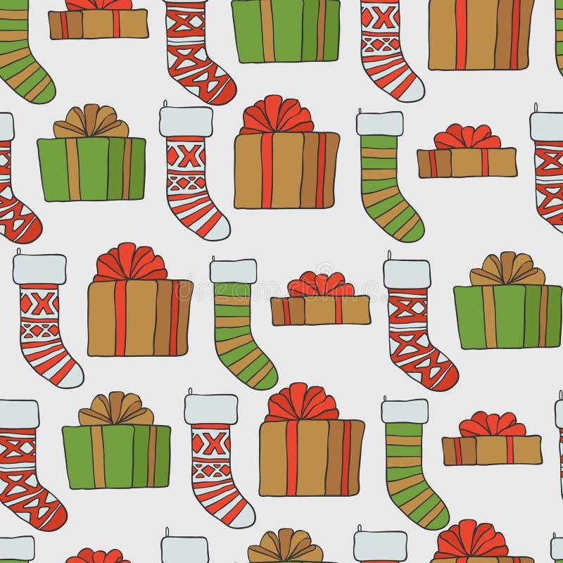год новой картины рождества безшовный Предпосылка праздника вектора с носками подарков для дизайна поздравительной открытки и иллюстрация вектора