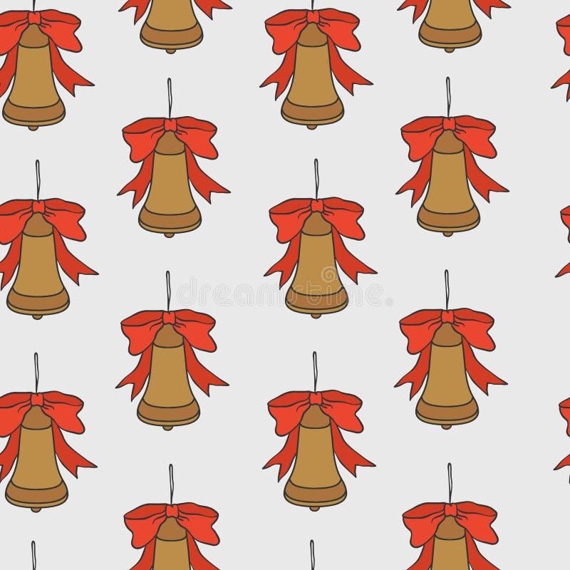 год новой картины рождества безшовный Предпосылка праздника вектора с колоколами для дизайна и упаковки поздравительной открытки иллюстрация вектора