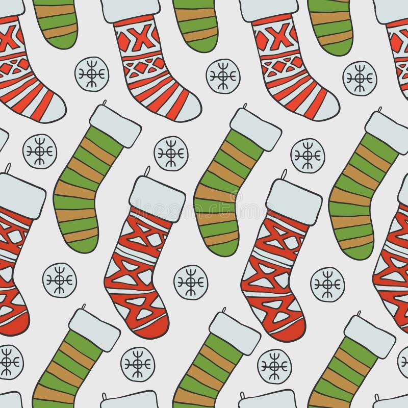 год новой картины рождества безшовный Предпосылка праздника вектора с носками снега для дизайна поздравительной открытки и бесплатная иллюстрация