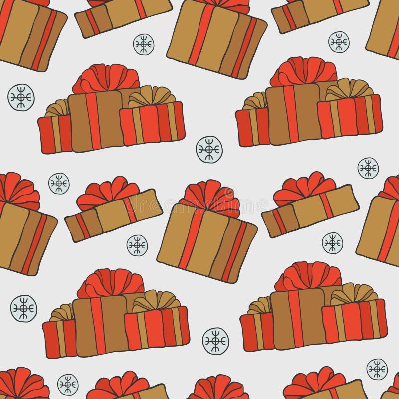 год новой картины рождества безшовный Предпосылка праздника вектора со снежинкой подарков для дизайна поздравительной открытки и иллюстрация вектора