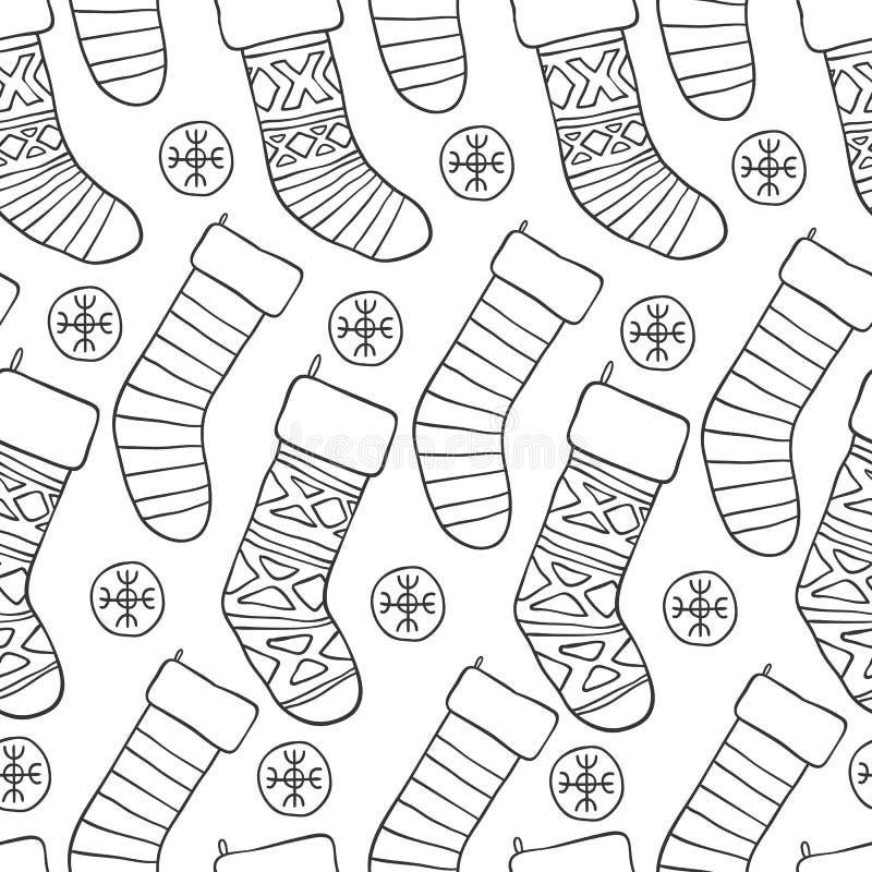 год новой картины рождества безшовный Предпосылка черноты праздника вектора белая с носками снега для дизайна поздравительной отк бесплатная иллюстрация