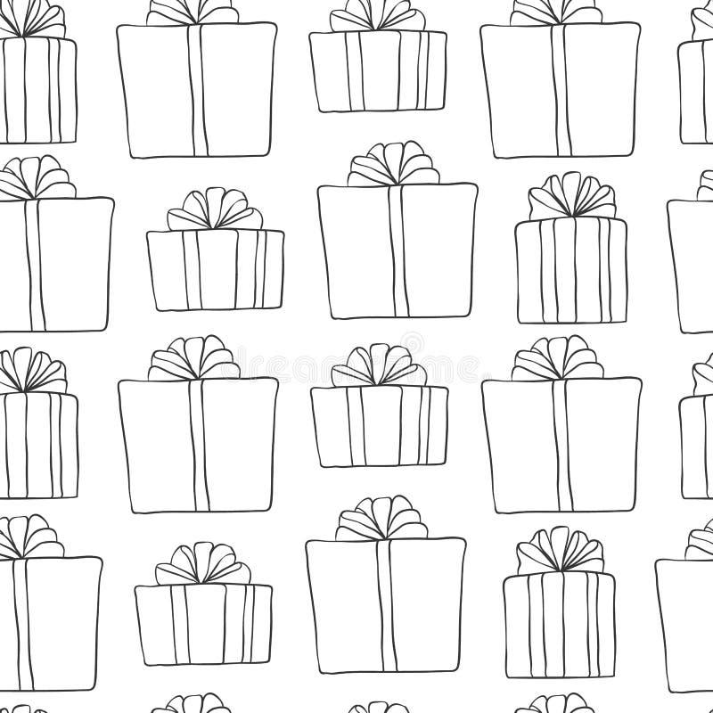 год новой картины рождества безшовный Предпосылка черноты праздника вектора белая с подарками для дизайна поздравительной открытк иллюстрация вектора