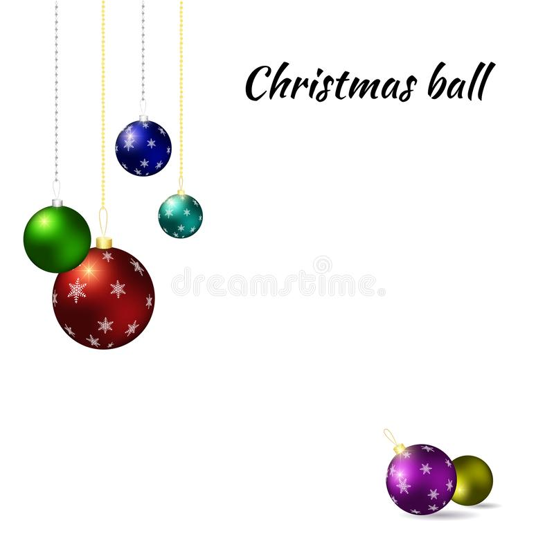 год рождества 2007 шариков Пестротканые шарики рождества на белой предпосылке иллюстрация вектора