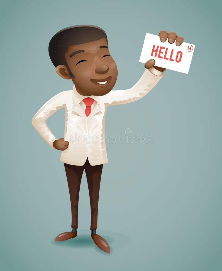 Год сбора винограда банка приветствию карточки звонка демонстрации представления характера бизнесмена европейского Афро костюма А бесплатная иллюстрация