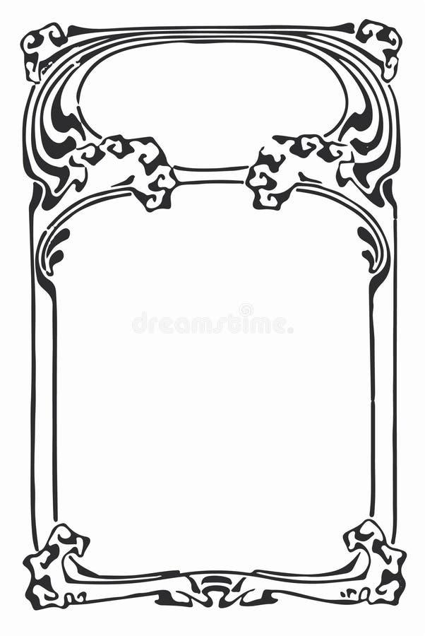 Год сбора винограда - линия граница Nouveau искусства рамки искусства иллюстрация штока
